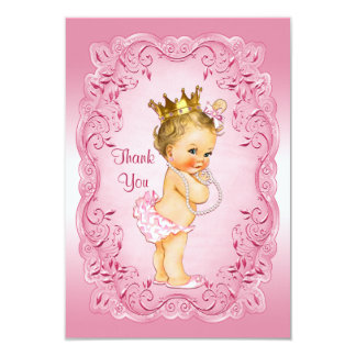Pink Vintage Princess Thank You Baby Shower Card