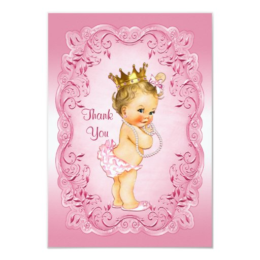 Vintage Baby Shower Thank You Cards: Pink Vintage Princess Thank You Baby Shower Card