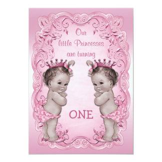 Pink Vintage Princess Twins 1st Birthday Card