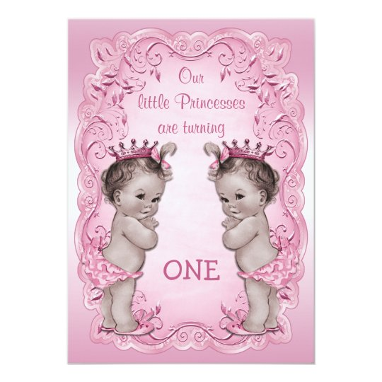 Pink Vintage Princess Twins 1st Birthday Card – 1st Birthday Cards