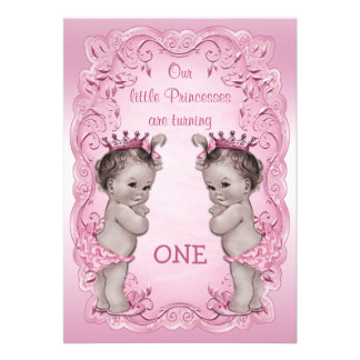 Pink Vintage Princess Twins 1st Birthday Personalized Invite