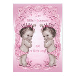 Pink Vintage Princess Twins Baby Shower 5x7 Paper Invitation Card