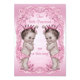 Pink Vintage Princess Twins Baby Shower Card