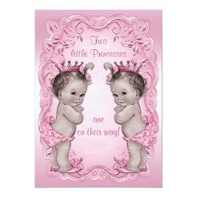 Pink Vintage Princess Twins Baby Shower 5x7 Paper Invitation Card