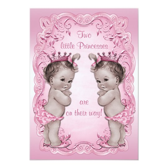Pink vintage princess twins baby shower invitation zazzle pink vintage princess twins baby shower invitation filmwisefo