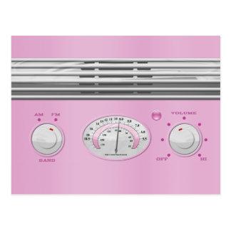 Pink Vintage Radio Postcard