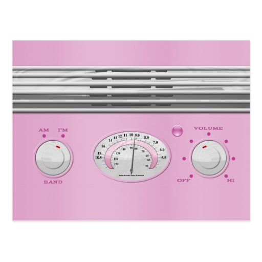 Pink Vintage Radio Post Card