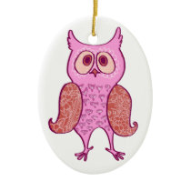 Pink vintage retro owl ceramic ornament