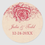 Pink Vintage Rose Border Save The Date Wedding Round Stickers
