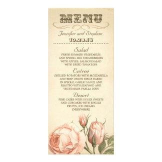 Pink vintage rose elegant wedding menu cards rack card template