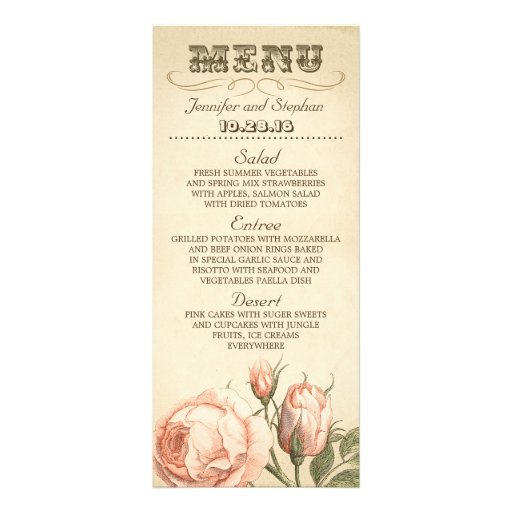 Pink vintage rose elegant wedding menu cards full color rack card