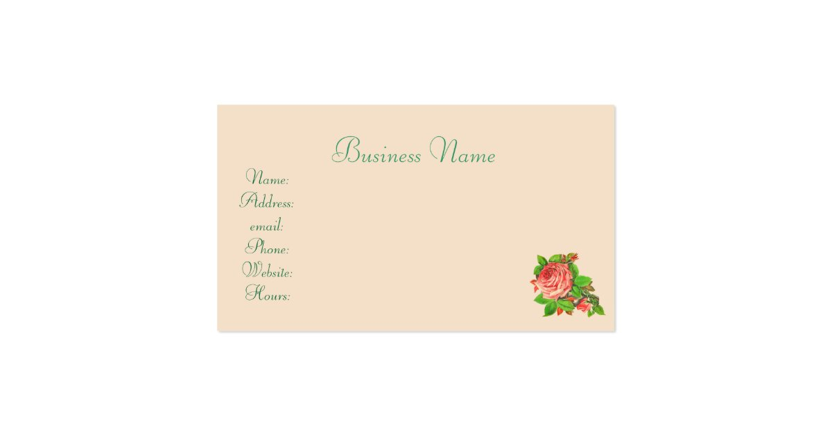 Pink vintage rose feminine business card zazzle for Feminine business cards