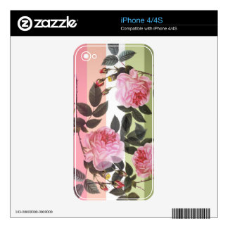 Pink vintage rose flowers in pastel color strips. skin for iPhone 4S