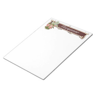 Pink Vintage Rose Personalized note pad