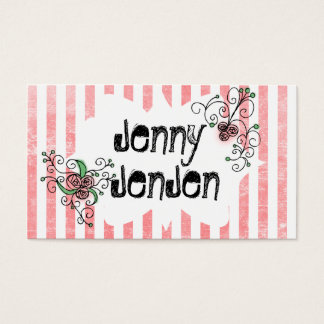 Pink Vintage Rose Stripes Business Cards