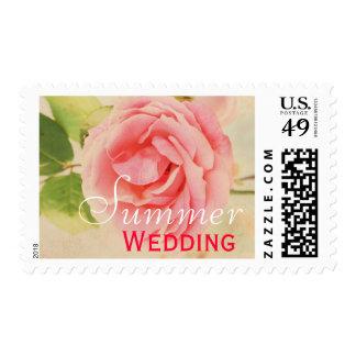 Pink vintage rose Summer wedding Postage