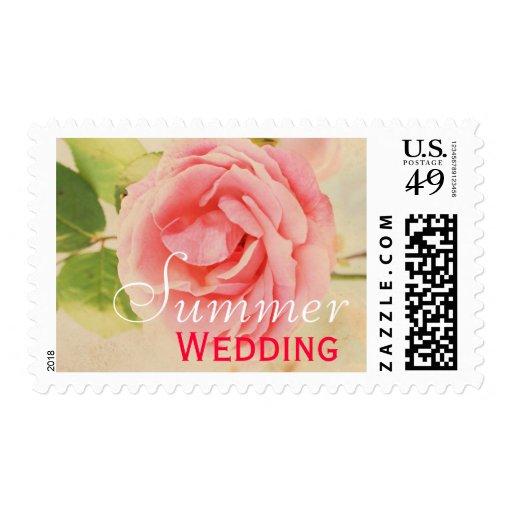 Pink vintage rose Summer wedding Postage Stamp