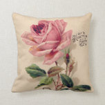 "Pink Vintage Rose Throw Pillow<br><div class=""desc"">Vintage girly pink rose and vintage lace on cream background a beautiful romantic gift idea for her</div>"