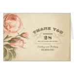 pink vintage rose wedding thank you cards