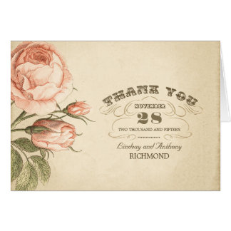 pink vintage rose wedding thank you cards
