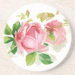 Pink vintage roses beverage coasters