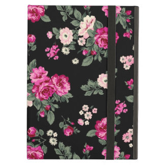 Pink Vintage Roses Black Background iPad Folio Case