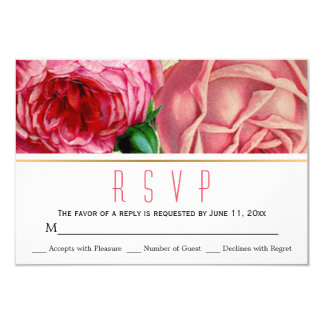 Pink vintage roses floral wedding RSVP response Card