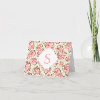 Pink Vintage Roses Monogram Note Card