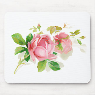 Pink vintage roses mouse pad