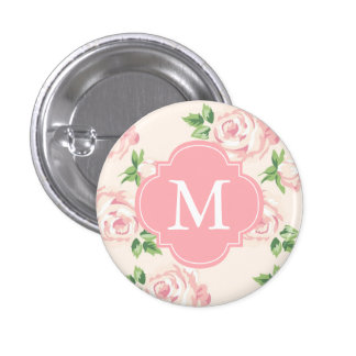 Pink Vintage Roses Pattern Monogrammed 1 Inch Round Button