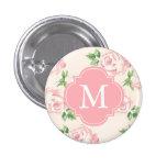 Pink Vintage Roses Pattern Monogrammed Button