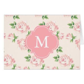 Pink Vintage Roses Pattern Monogrammed Card