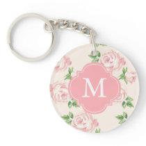 Pink Vintage Roses Pattern Monogrammed Keychain