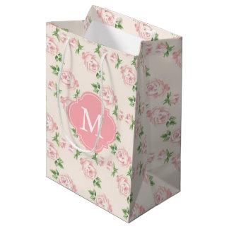 Pink Vintage Roses Pattern Monogrammed Medium Gift Bag