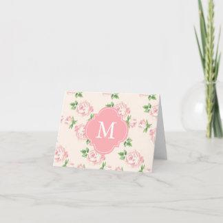 Pink Vintage Roses Pattern Monogrammed Note Card