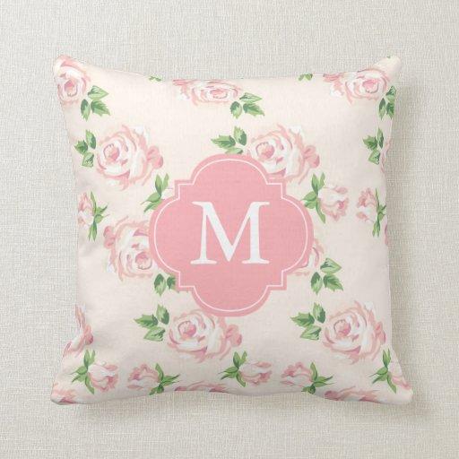 Pink Vintage Roses Pattern Monogrammed Throw Pillow