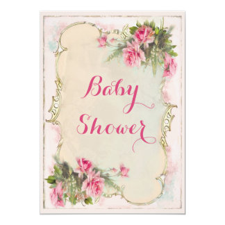 Pink Vintage Roses Shabby Chic Baby Shower 5x7 Paper Invitation Card