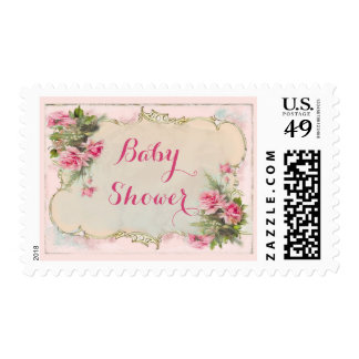 Pink Vintage Roses Shabby Chic Baby Shower Postage Stamps