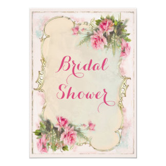 Pink Vintage Roses Shabby Chic Bridal Shower 5x7 Paper Invitation Card