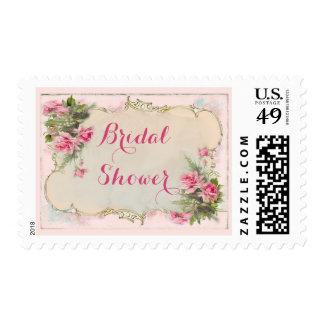 Pink Vintage Roses Shabby Chic Bridal Shower Stamps