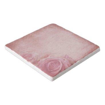 Wedding Themed Pink Vintage Roses Stone Trivets