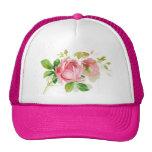 Pink vintage roses trucker hat