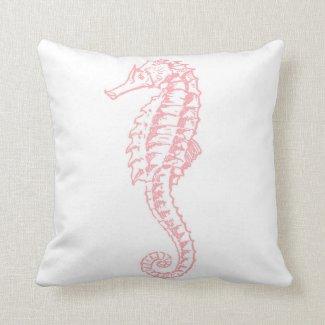 Pink Vintage Stripe Seahorse Throw Pillow