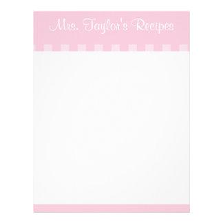 Pink Vintage Stripes Recipe Cards Letterhead