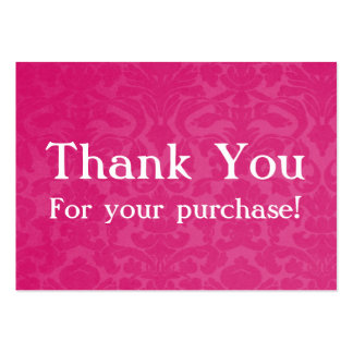 Pink Vintage Thank You For your Purchase Cards Large Business Card