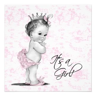 Pink Vintage Toile Baby Girl Shower Custom Invitation