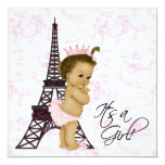 """Pink Vintage Toile Paris Baby Girl Shower 5.25"""" Square Invitation Card"""