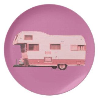 Pink Vintage Travel Trailer 60's Melamine Plate