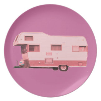 Pink Vintage Travel Trailer 60's Party Plates