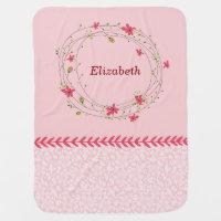Pink Vintage trendy floral monogram Baby Blanket